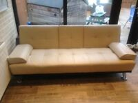 Modern Cinema Ivory Faux Leather 3 Seater Sofa Bed