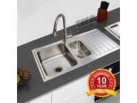 DOUBLE KITCHEN SINK. STAINLESS STEEL, BRAND NEW WITH PLUMB KIT. WAS OVER £80