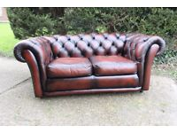 2 SEATER CHESTERFIELD SAXON LEATHER SOFA