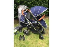 Icandy peach 3 Royal Blue double blossom pushchair