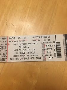 Two Metallica Floor Tickets Vancouver