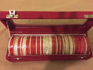 Traditional bengali red and white wedding bangles