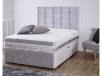 Double Crushed Velvet Bed with Diamond Buttons
