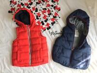 Two boys gilet vest with hoodie 2-3 yrs