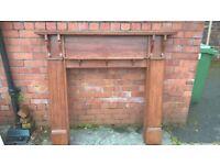 Solid hardwood fireplace surround with shelf