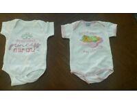 Baby body vests. 3-6 months