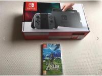 Nintendo Switch Console & Zelda Game - Boxed As New