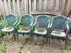 Plastic Lawn Chairs with Rose Design