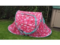 Pink flowery two man pop up tent