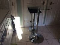 Pair chrome and black leather stools
