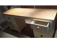 Solid wooden desk with 6 drawers