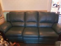 Leather Reclining Three-Piece Suite - Good Condition