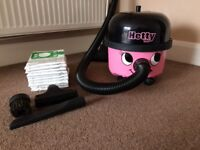 Hetty Hoover in Pink + 10 Hepa-Flo Filter Bags. Numatic Vacuum Cleaner - Good Condition