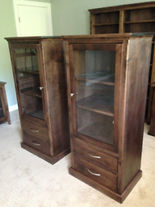 2- Entertainment Display Cabinet Birch Hardwood