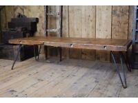 INDUSTRIAL coffee table RUSTIC reclaimed wood steel salvage hunters loft vintage Brighton gplanera