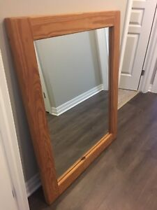 Large mirror- solid wood frame- $50 OBO