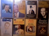 A MARTINO, L ARMSTRONG, F ASTAIRE, B CROSBY, J JONES, M LANZA, F VAUGHAN PRERECORDED CASSETTE TAPES.