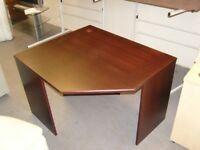 Corner Office or Home Office Desk in Mahogany Finish. Brand New