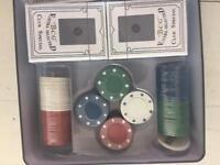 BN set of Poker chips & used Roulette wheel