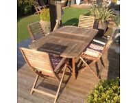 Wooden garden patio table and 4 chairs £80 tel 07966921804