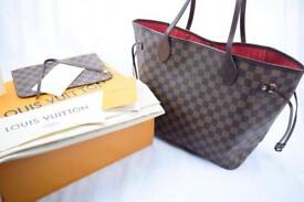 Louis Vuitton MM Neverfull women's designer lv bag in brown monogram red interior