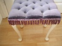 Bedroom Stool, Navy upholstered seat, white legs. COLLECTION ONLY