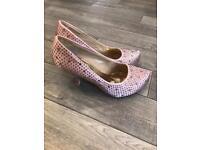 Pink diamanté heel shoes, size 3