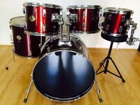Stagg Tim drums + extra matching 10 inch tom with mounting clamp & drum stool £55
