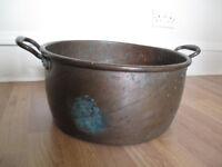 "Big Antique Copper Cauldron/Large Jam Pan, 15"" diam, rustic weathered decor - Quick Sale!"