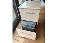 2 Drawer Wood Filing Cabinet - in good condition