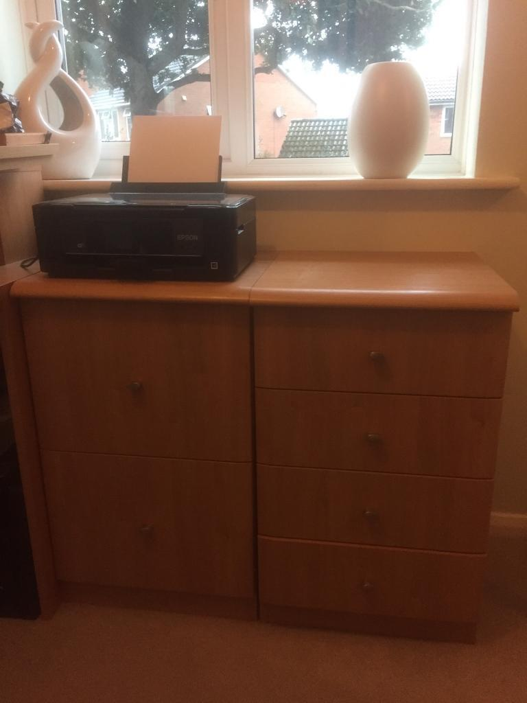 Home office furniture desk/ filing cabinet/drawersin Bracknell, BerkshireGumtree - This office set comprises of four furniture pieces .1) a filing cabinet with two drawers to take suspended A4 files runners ( to hold files ) included . Height 75cm Depth and width are the same at 45cm 2) a drawer unit with four pull our drawers ....