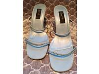 Brand new never worn blue satin shoes size 7