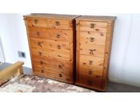 Solid Waxed Pine bedroom suite - two tall chests and one bedside chest of drawers