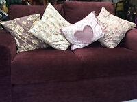 Sofa - aubergine fabric - hardly used.
