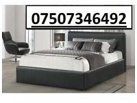 **FREE AND FAST DELIVERY** DOUBLE LEATHER BED + FREE 9 INCH MATTRESS £129.99