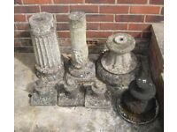 Selection Of Old Stone Ornament Stands.