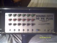 A SOUND CITY 50 P.A. PLUS , CUSTOM BUILT M.K. 4 AMPLIFIER , 6 CHANNELS , MINT >