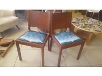 2 Chairs Recovered In Beautiful Retro Fabric