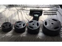 Starter body building kit - dumbbell barbell Ez curl 75kg plates 5kg kettle bell foam roller