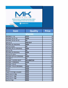 PRICE LIST MK MOBILE