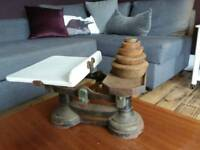 Vintage kitchen scales with ceramic plate