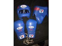 Genuine Winnings Sparring 14oz gloves. Medium groin guard and head guard