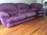 Purple sofa & 2 armchairs