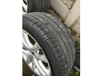 Genuine vw scirocco 4x 17 inch alloy wheels & tyres ( may fit caddy, golf,t5 )