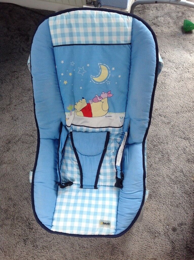 BABY BOUNCER/ROCKER RECLINING CHAIRin Carrick Knowe, EdinburghGumtree - Winnie the Pooh Baby bouncer/rocker reclining chair. Comes from clean pet/smoke free house. (No longer needed for my grandson) perfect condition apart from a couple of water marks due to cleaning