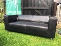 2 seater ikea sofa Black faux leather