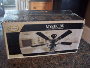 "Black Ceiling Fan 42"", MYSTIC BPT, Rev Blades with Light Kit new"