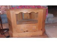 Corner television unit, solid wood