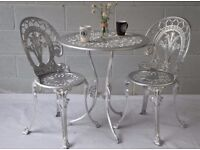 Bistro Garden Set Table with 2 Chairs Silver