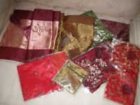 Two Chinese Table Runners; four decorative bags and one purse; Tissue Box cover £4 for everything